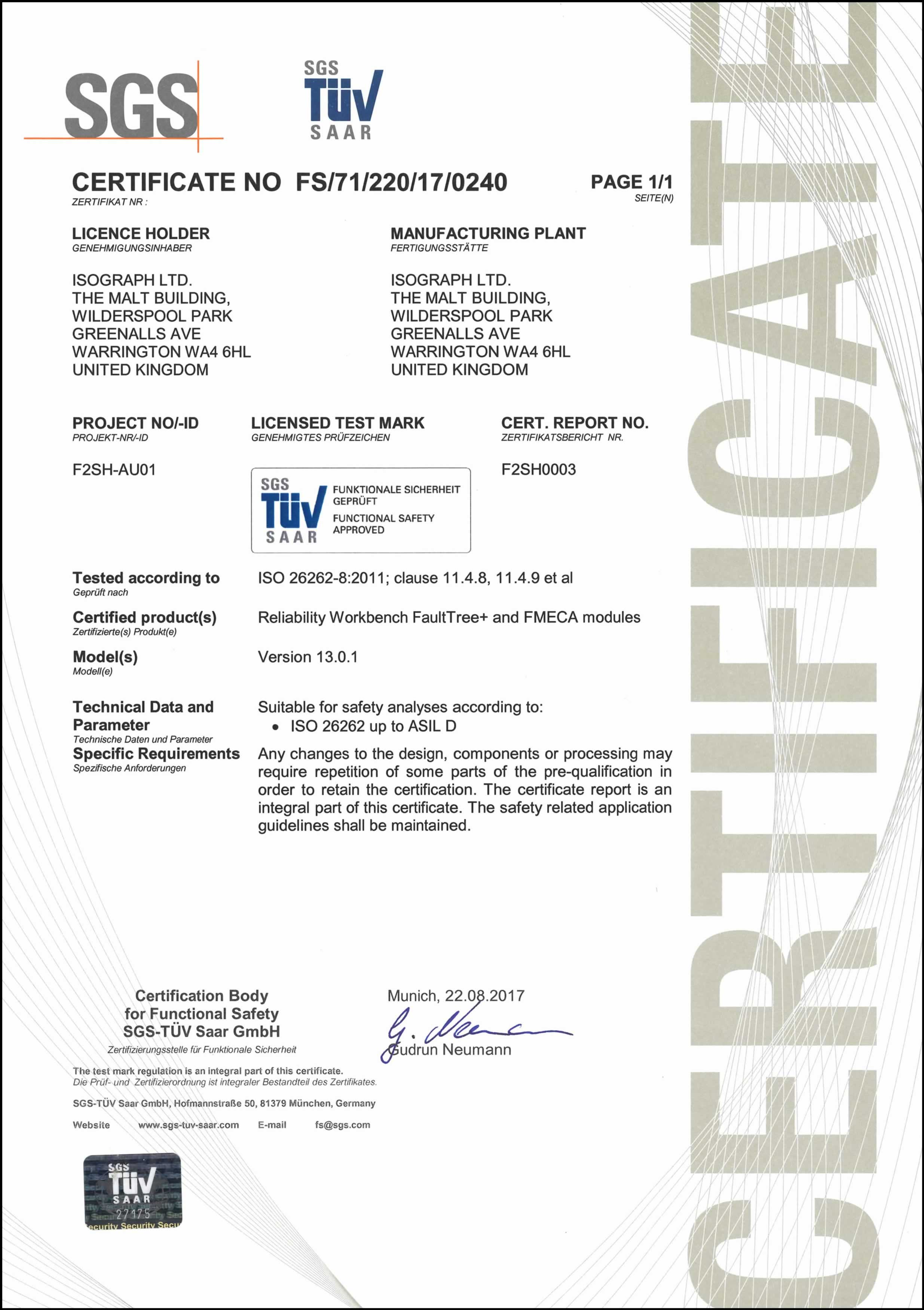 Reliability Workbench ISO 26262 Certificate